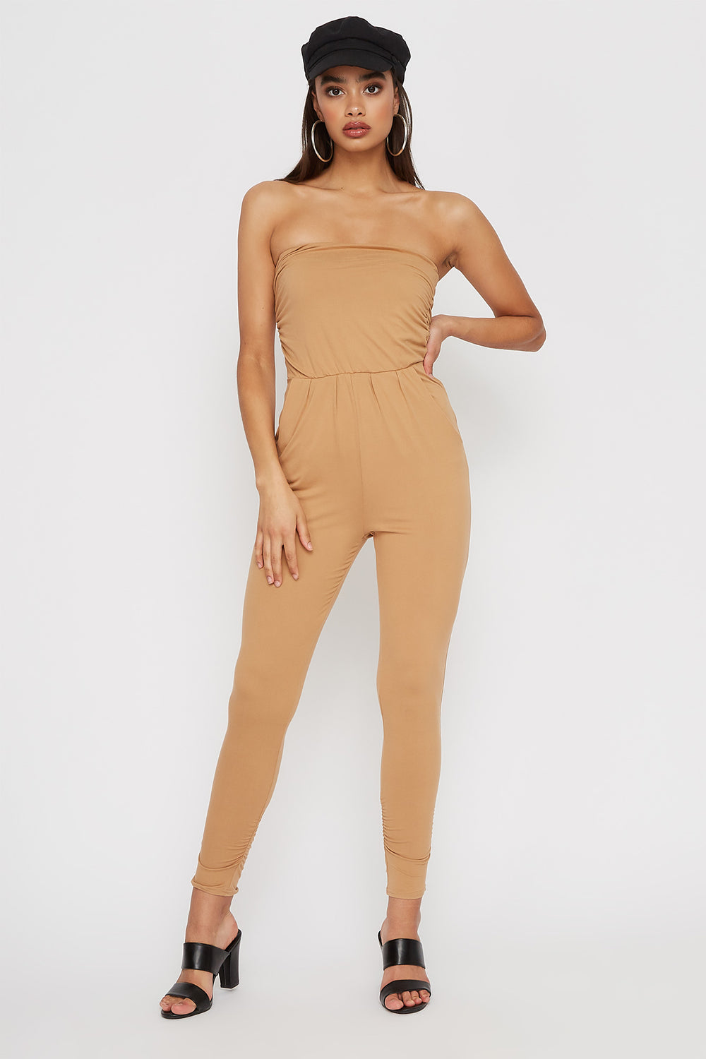 Ruched Soft Tube Skinny Jumpsuit Camel