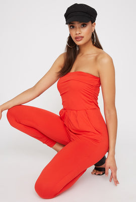 Ruched Soft Tube Skinny Jumpsuit