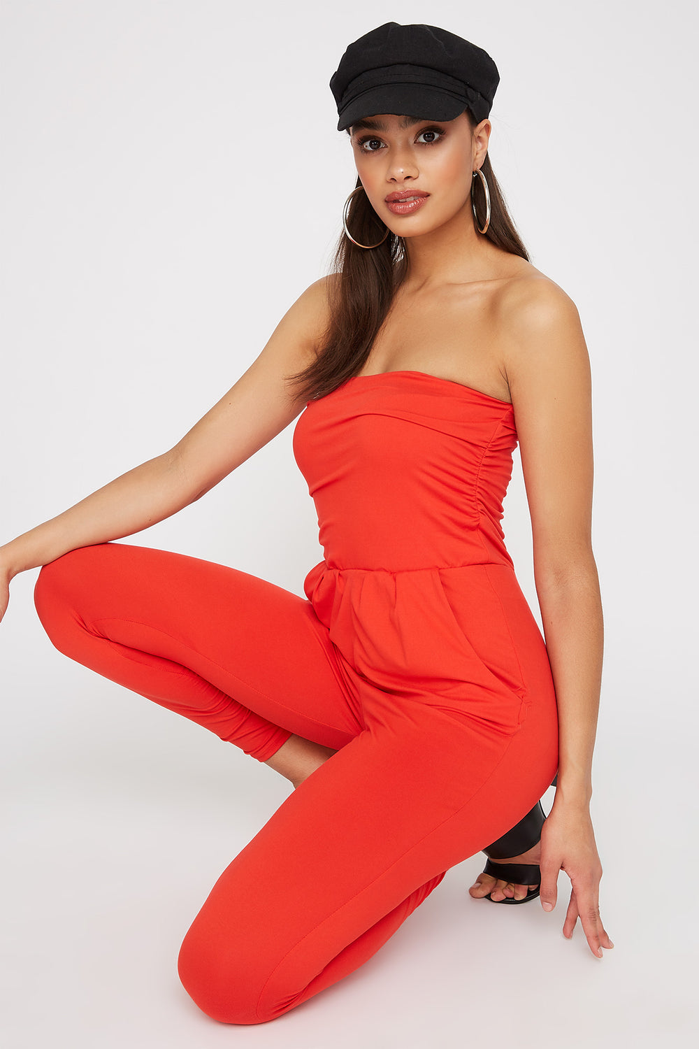 Ruched Soft Tube Skinny Jumpsuit Red