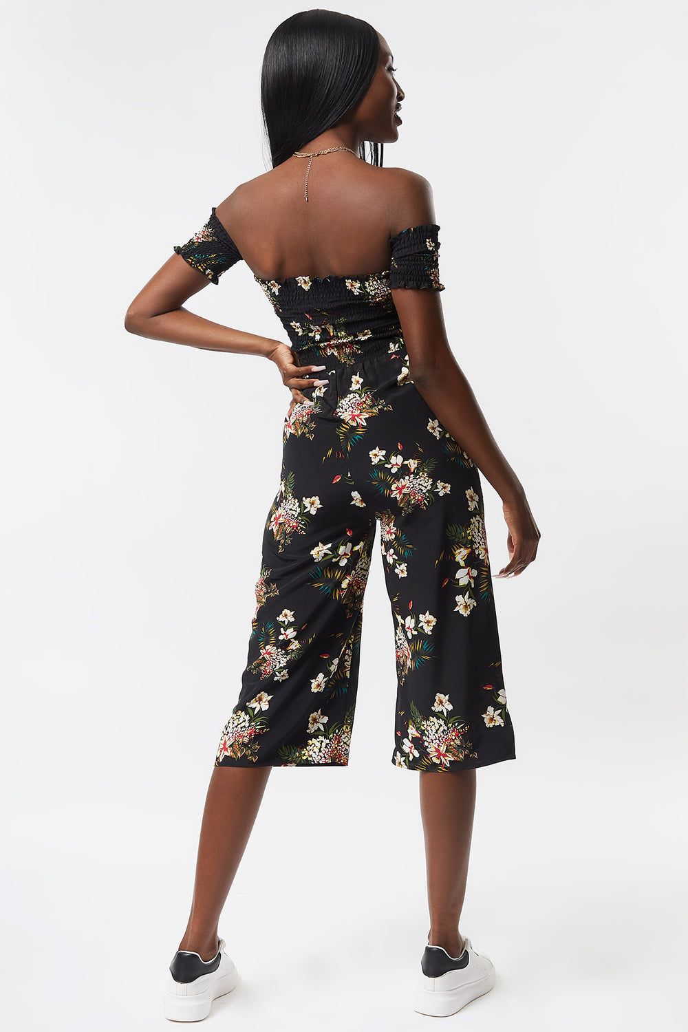 Floral Smocked Off The Shoulder Culotte Jumpsuit Black