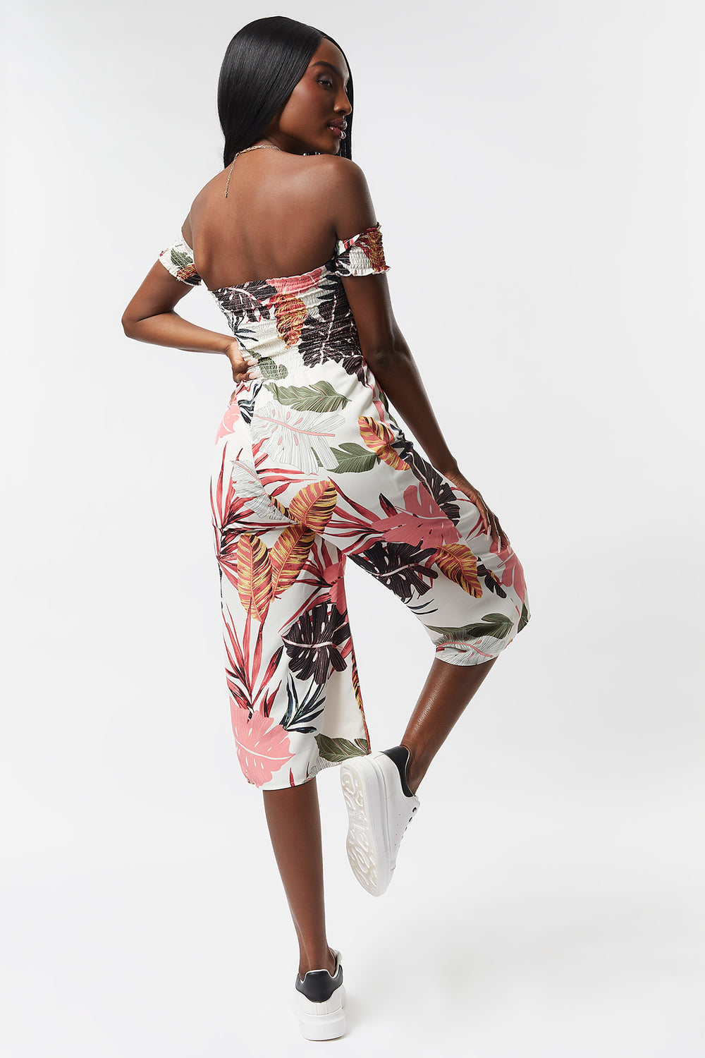 Printed Floral Smocked Off The Shoulder Culotte Jumpsuit Off White