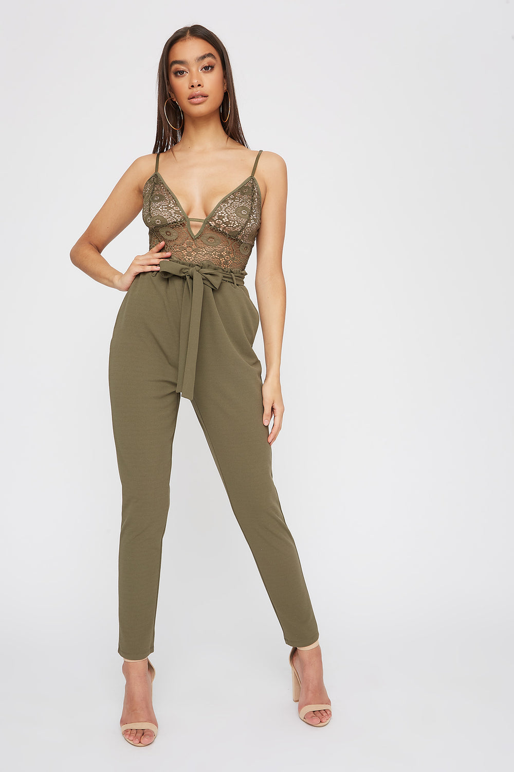 Lace Contrast Self Belted Jumpsuit Dark Green