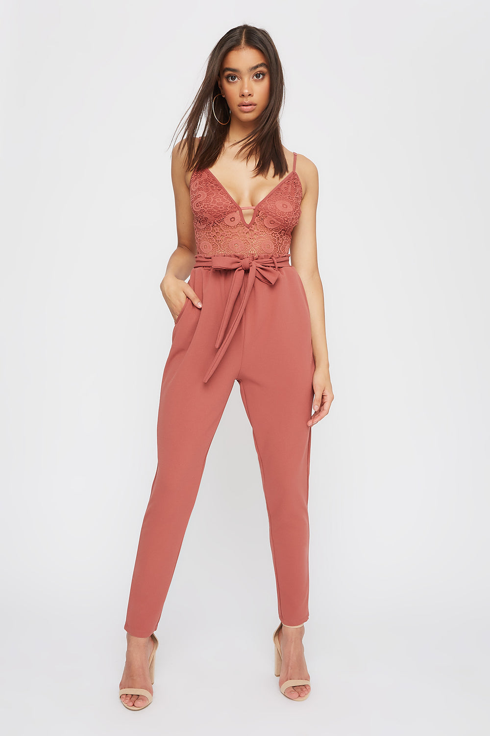 Lace Contrast Self Belted Jumpsuit Dark Pink