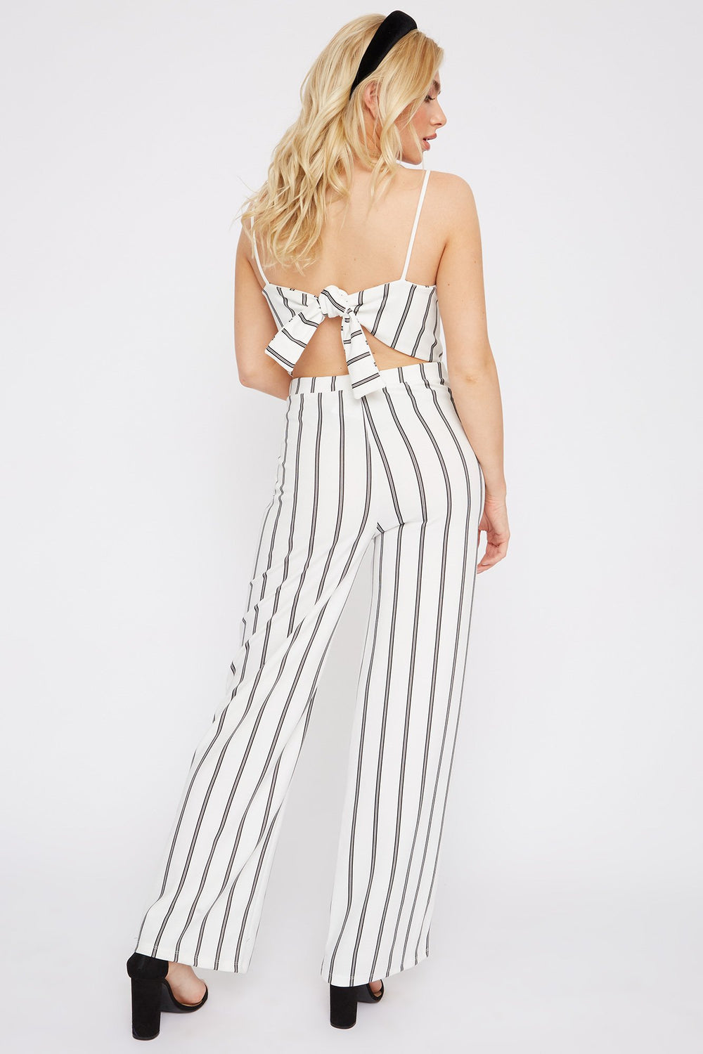 Striped Square Neck Palazzo Jumpsuit Ivory