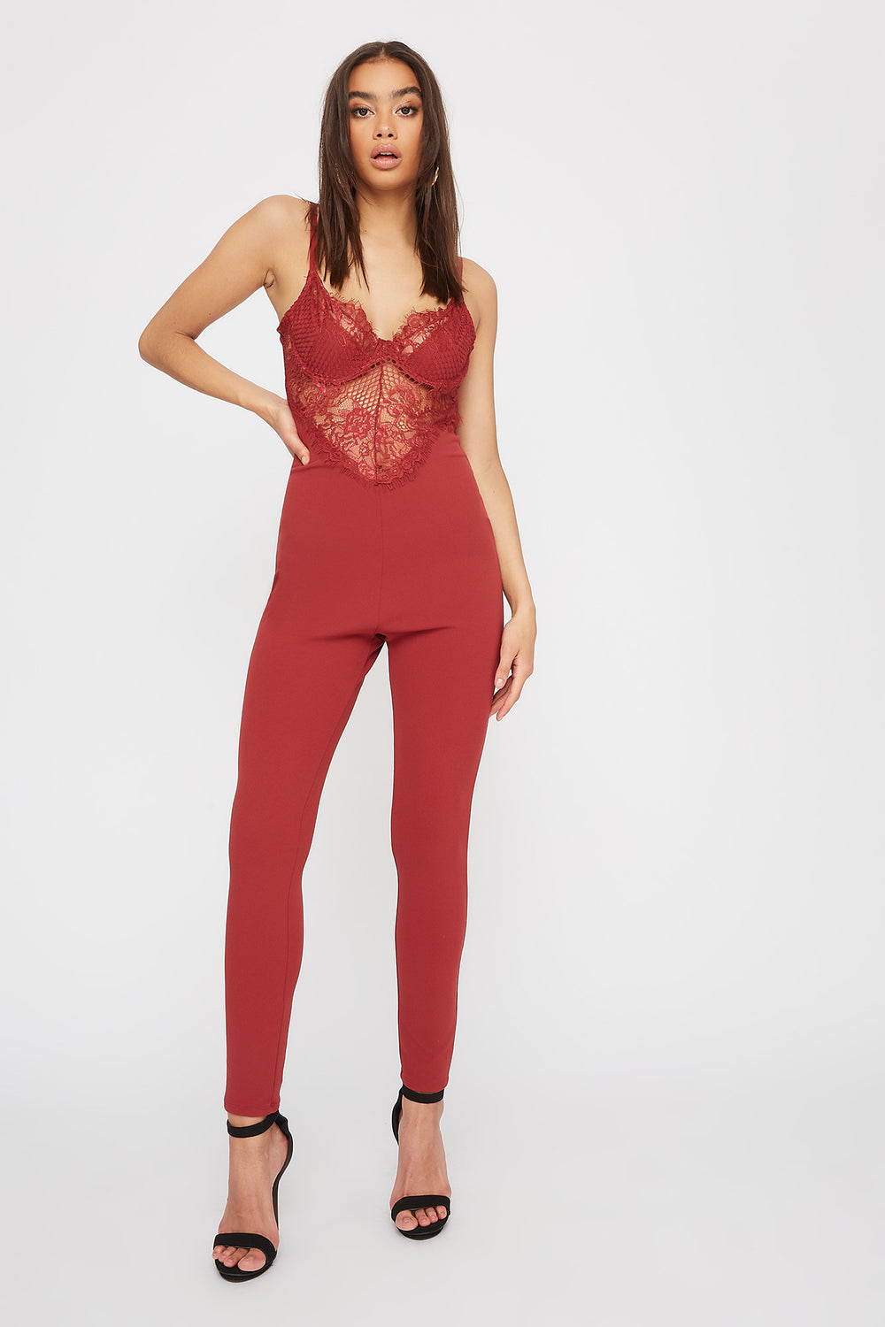 Lace Contrast Jumpsuit Rust