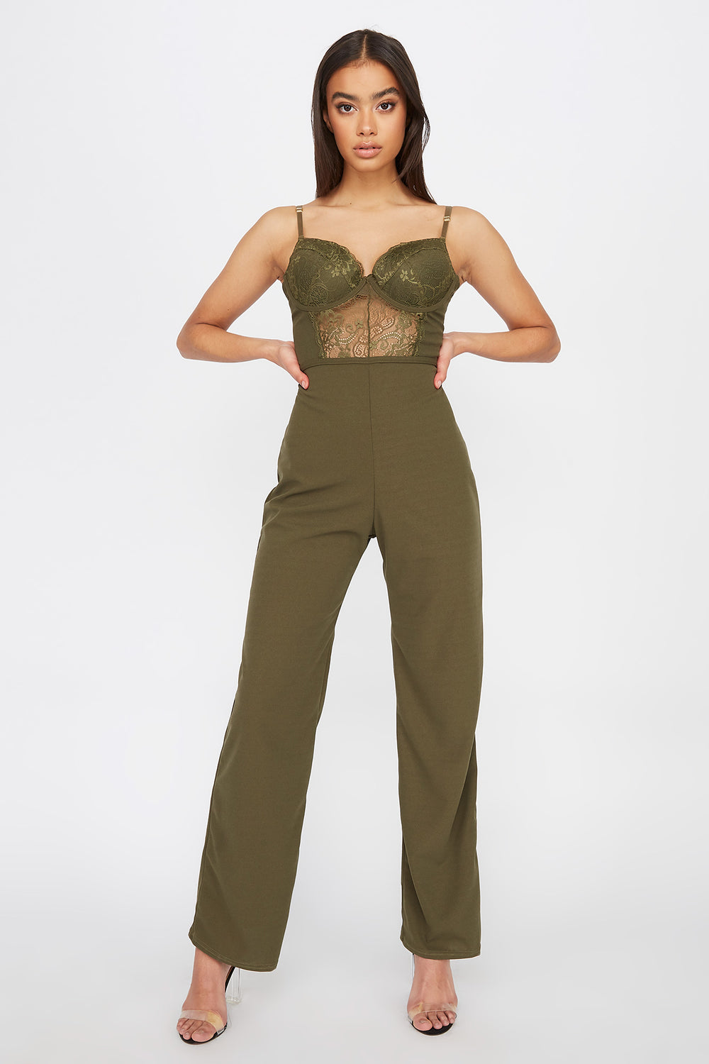 Bustier Lace Jumpsuit Dark Green