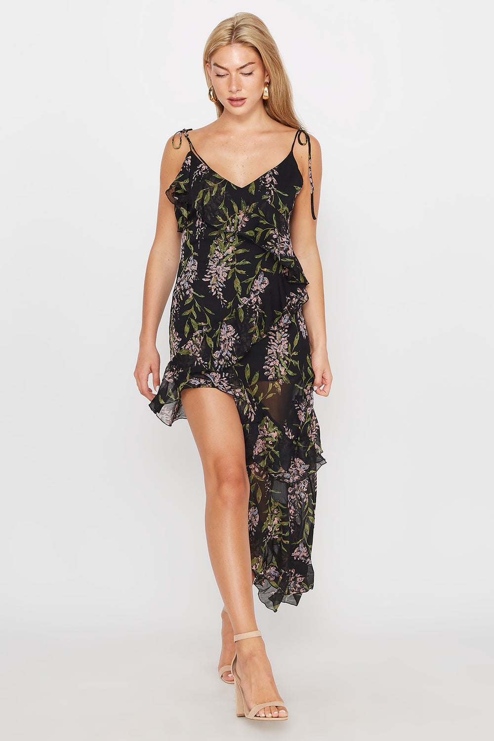 Chiffon Floral V-Neck Side High-Low Dress Black