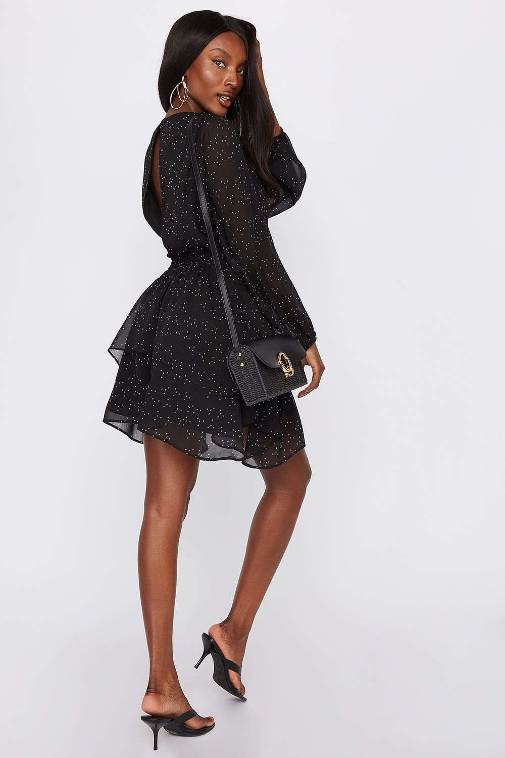 Printed Long Sleeve Shredded Mini Dress Black