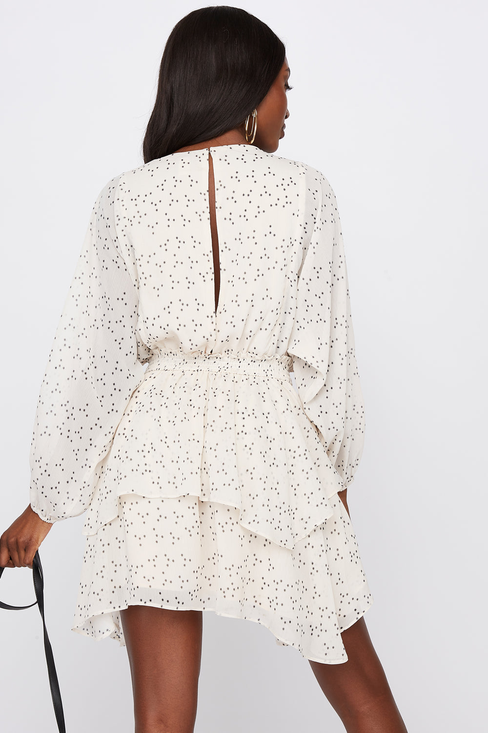 Printed Long Sleeve Shredded Mini Dress Ivory