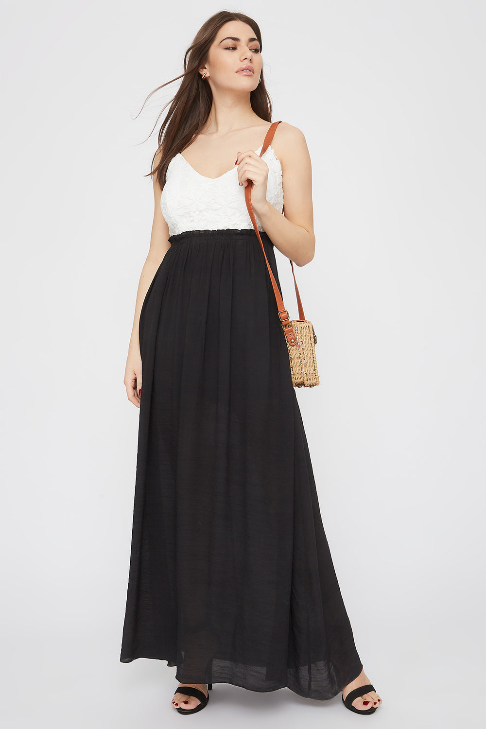 Crochet Contrast Paperbag Open Back Maxi Dress Black
