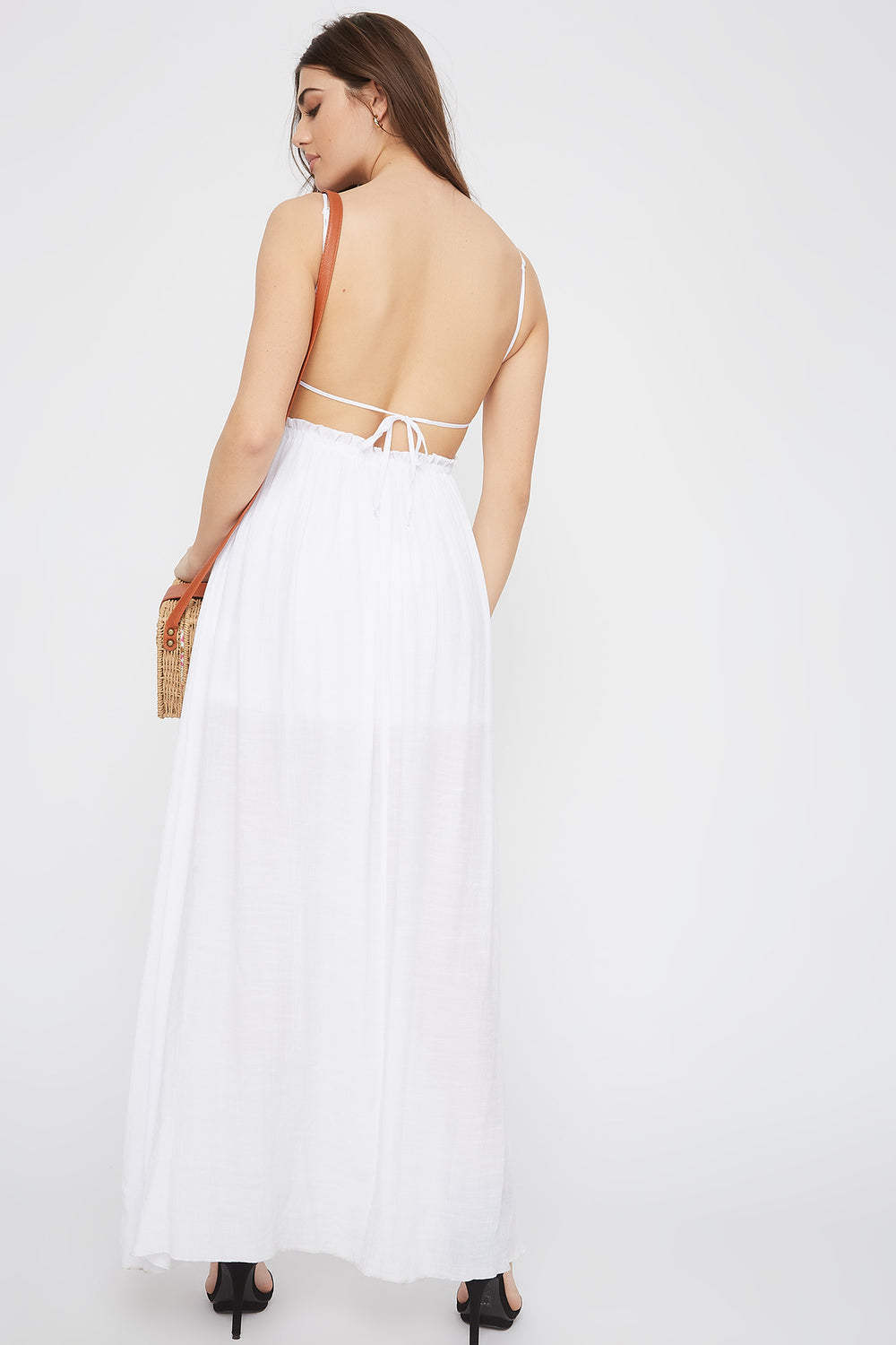 Crochet Contrast Paperbag Open Back Maxi Dress White