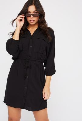 Solid Button-Up Drawstring Shirt Dress