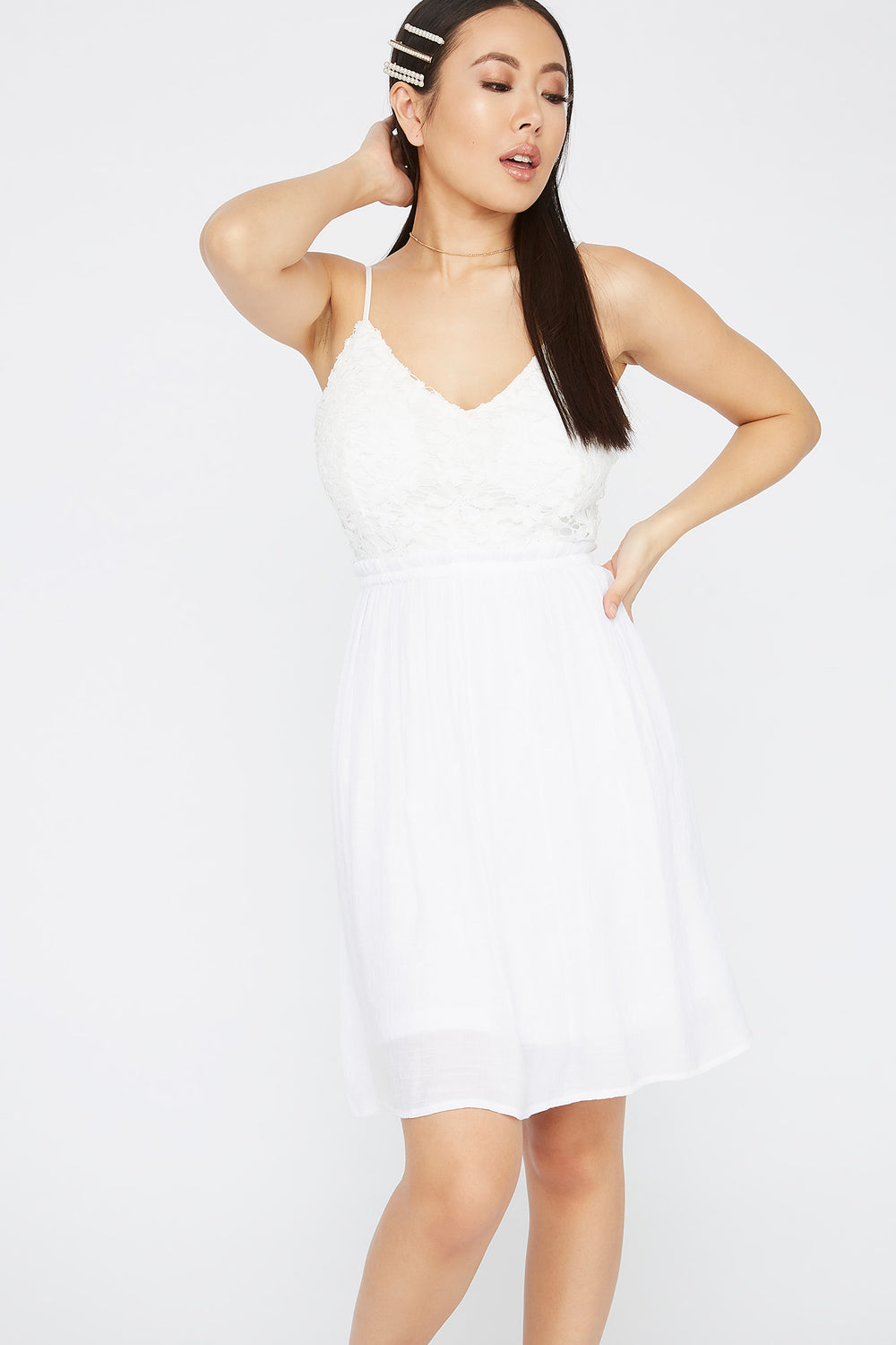 V-Neck Contrast Crochet Mini Dress White