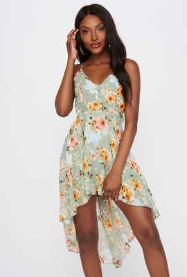 Floral V-Neck Lace Back High-Low Dress