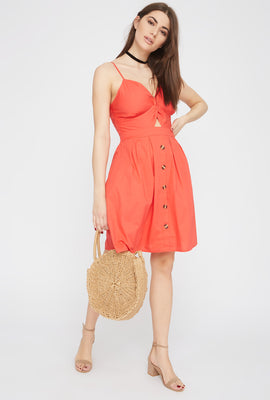 Button Cut-Out Knot Sun Dress