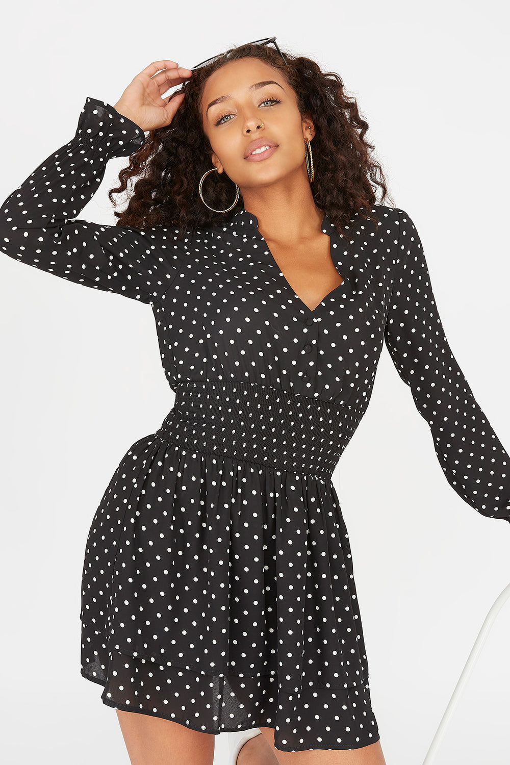 Button-Front Smocked Waist Long Sleeve Printed Mini Dress Black
