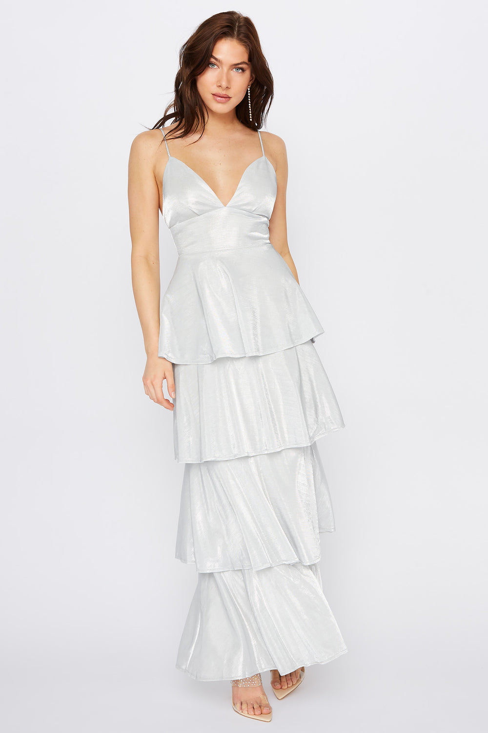 Metallic Multi Tier V-Neck Maxi Dress Silver