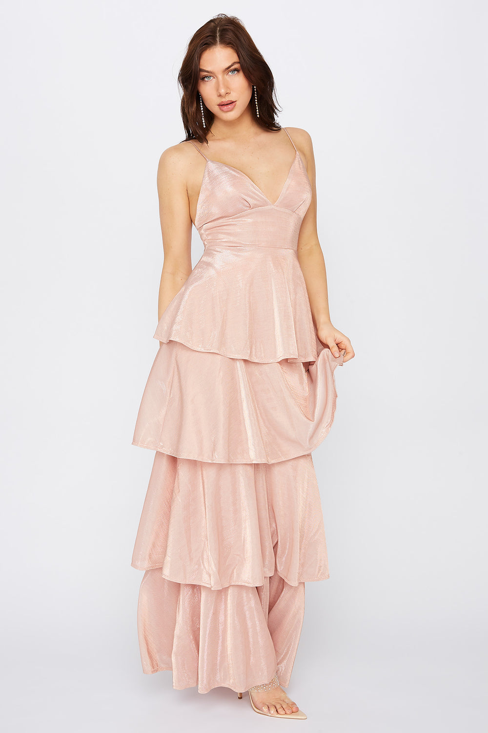 Metallic Multi Tier V-Neck Maxi Dress Light Pink