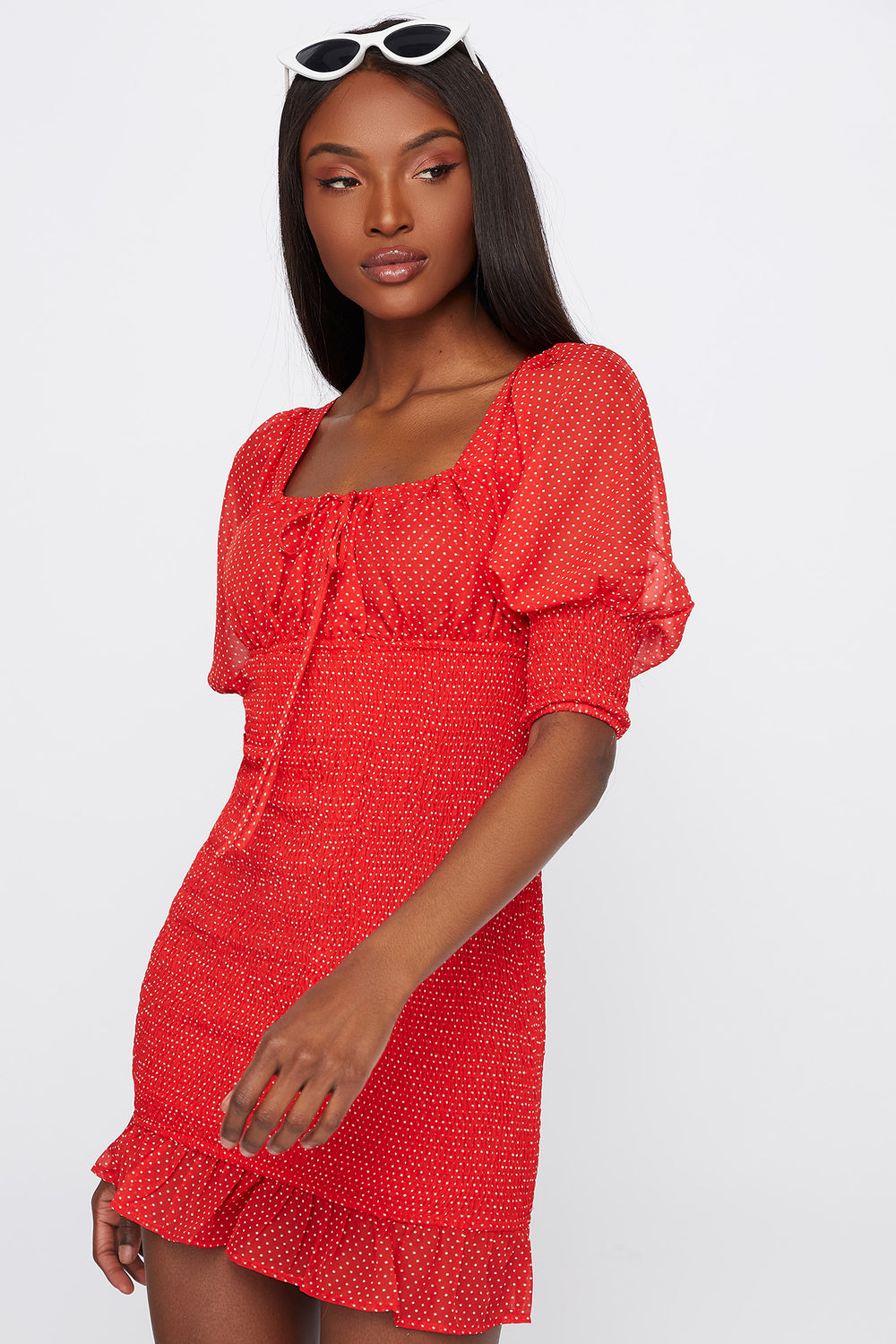 Printed Puff Sleeve Ruffle Hem Mini Dress Red