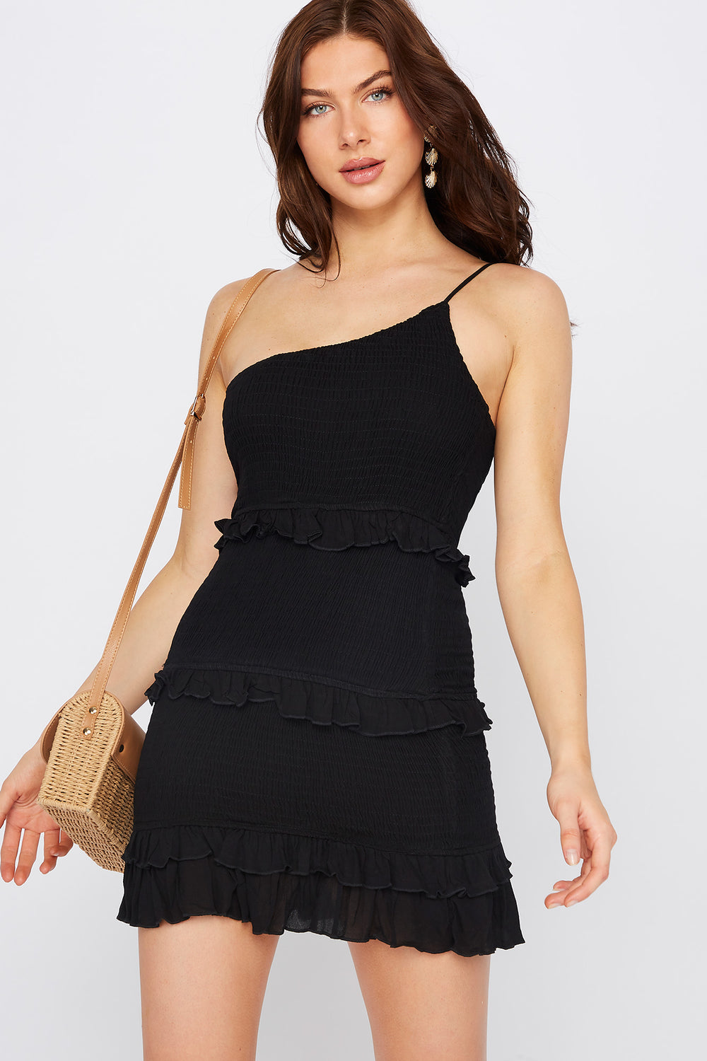One Shoulder Smocked Ruffle Mini Dress Black