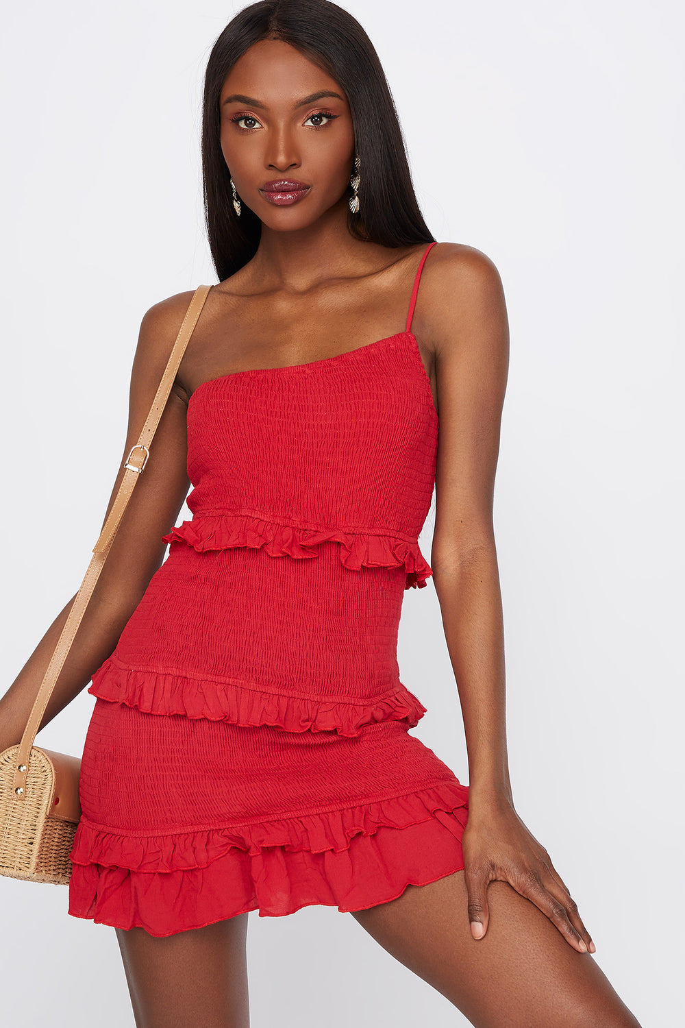 One Shoulder Smocked Ruffle Mini Dress Red