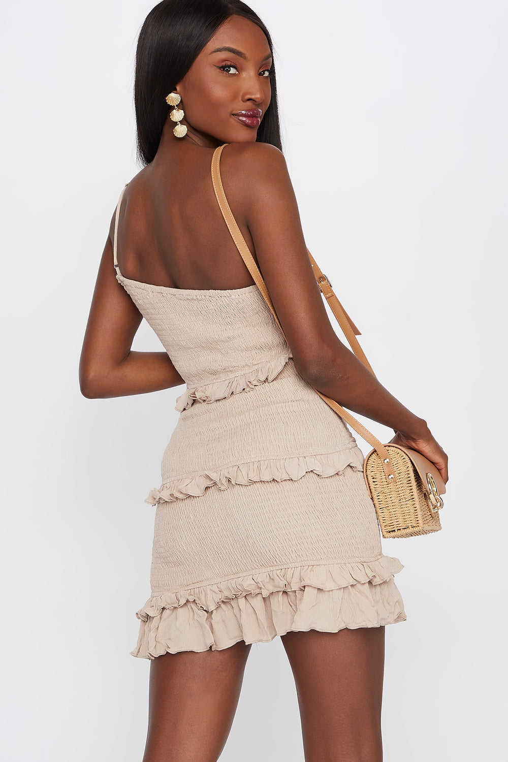 One Shoulder Smocked Ruffle Mini Dress Taupe