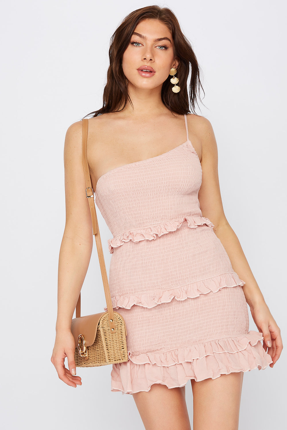 One Shoulder Smocked Ruffle Mini Dress Light Pink