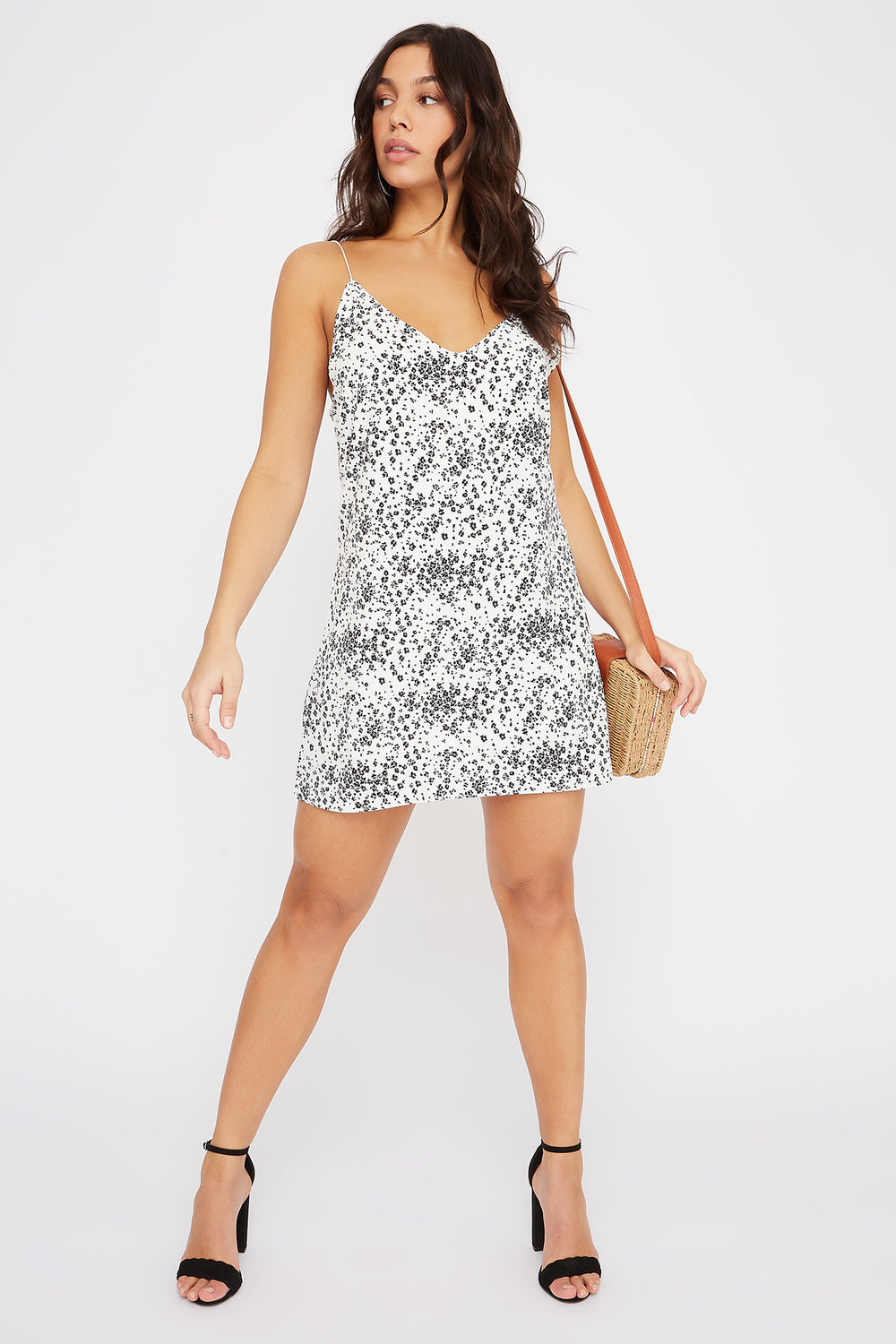 Floral V-Neck Cami Dress Ivory