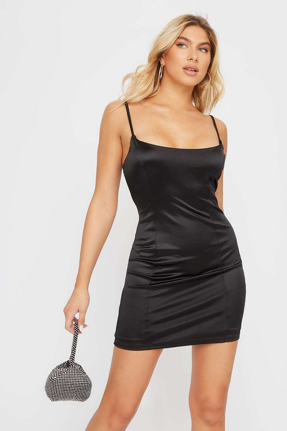Satin Bodycon Mini Dress Black