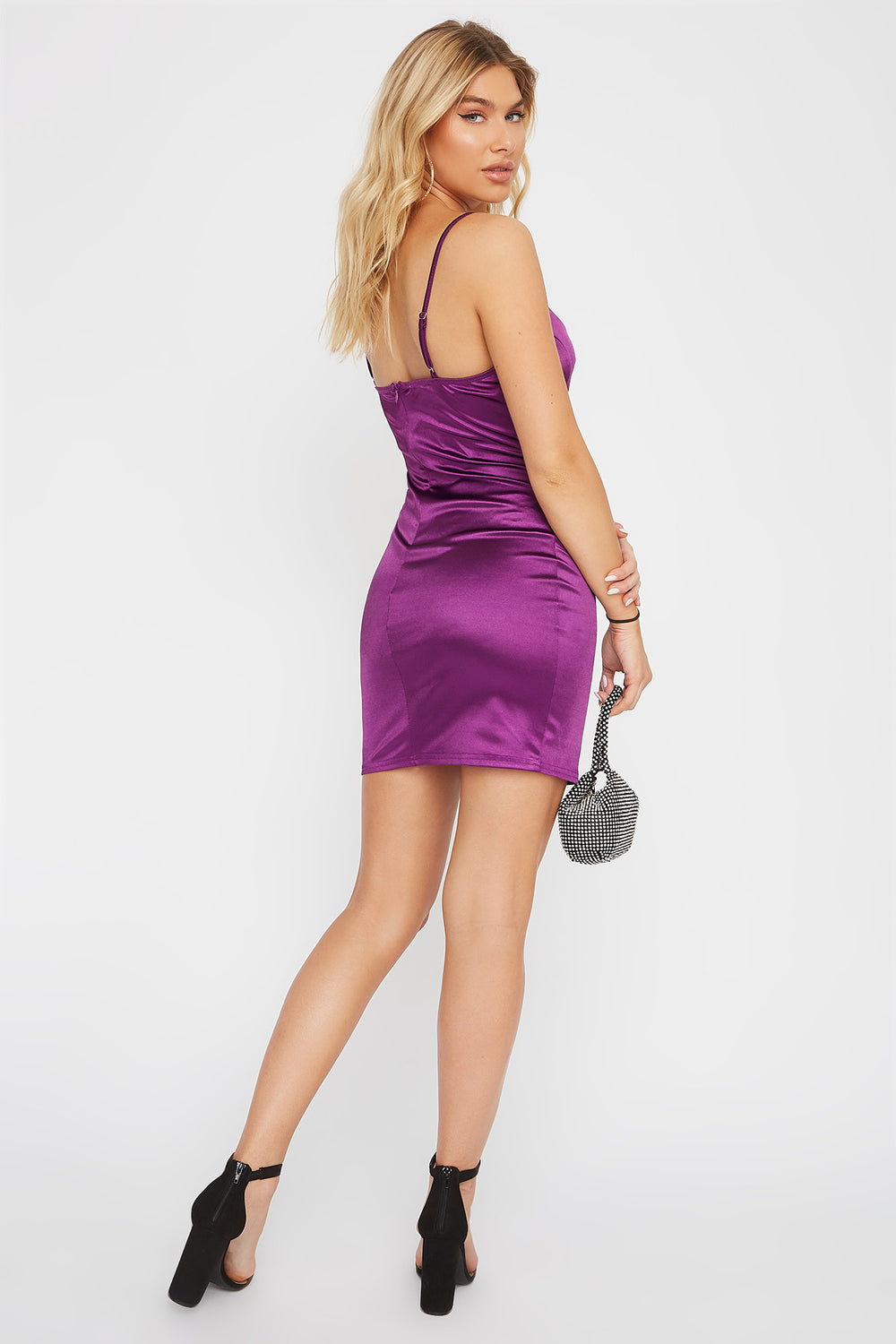 Satin Bodycon Mini Dress Purple