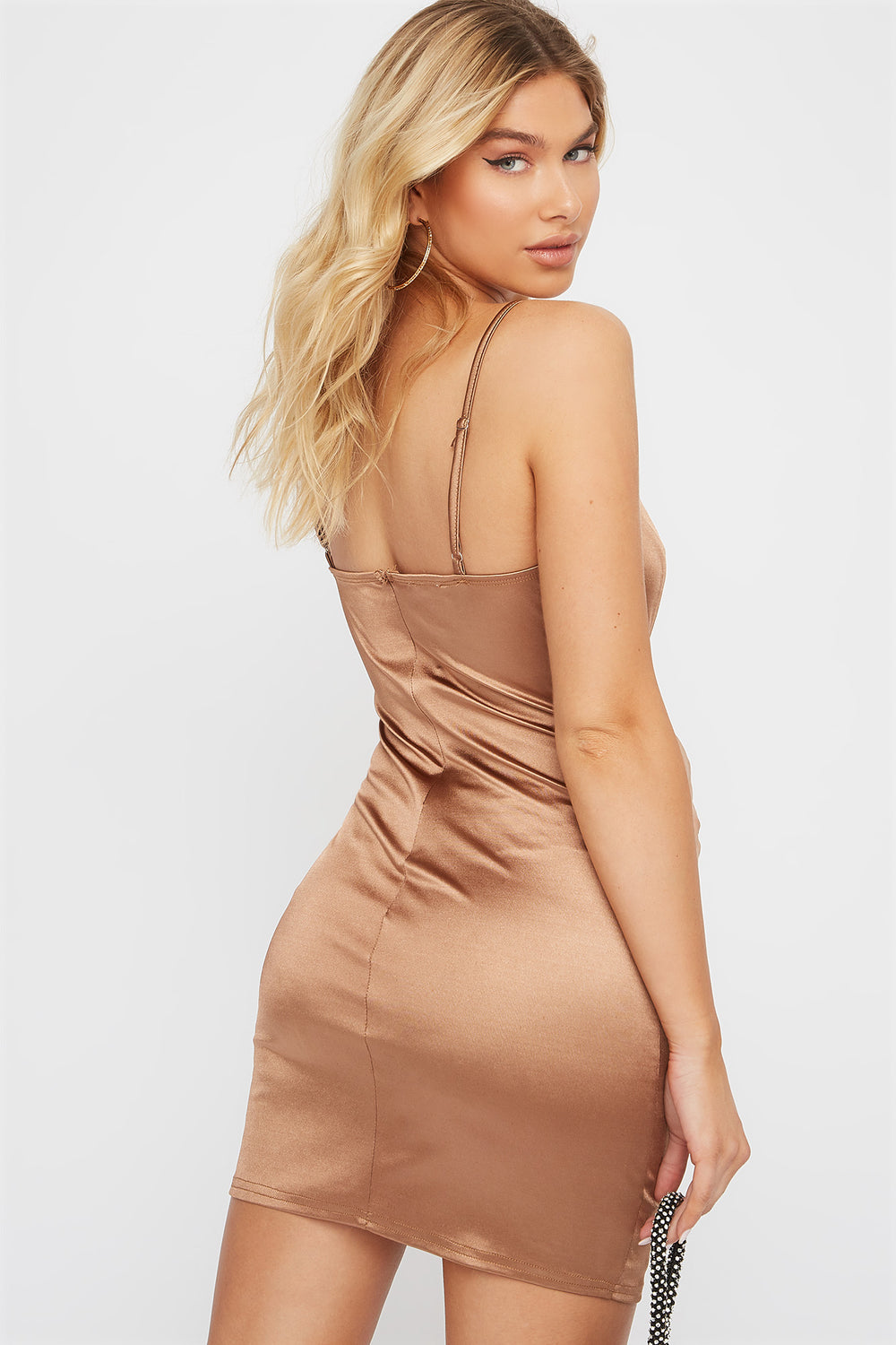 Satin Bodycon Mini Dress Taupe