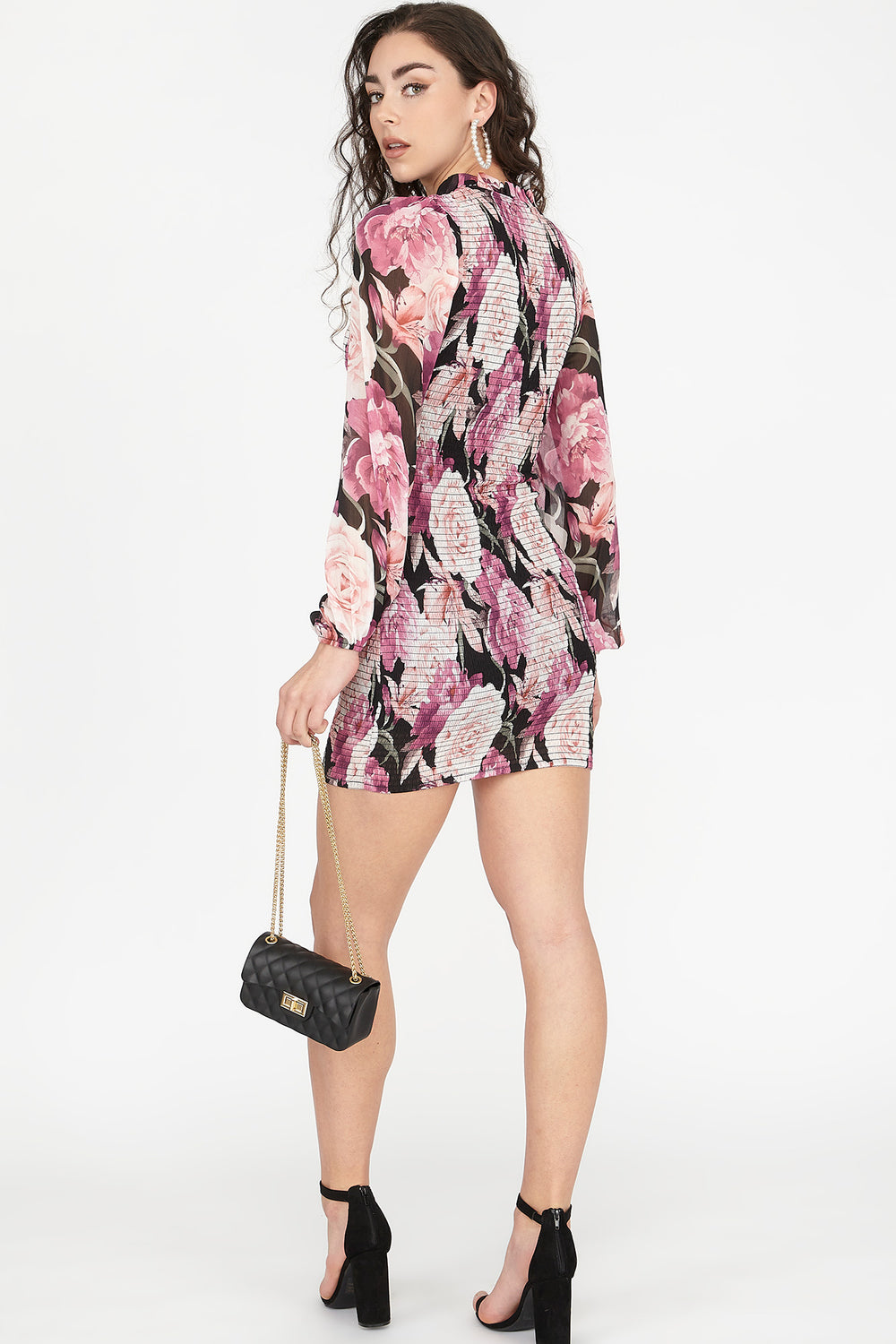 Floral Smocked Long Sleeve Mini Dress Pink