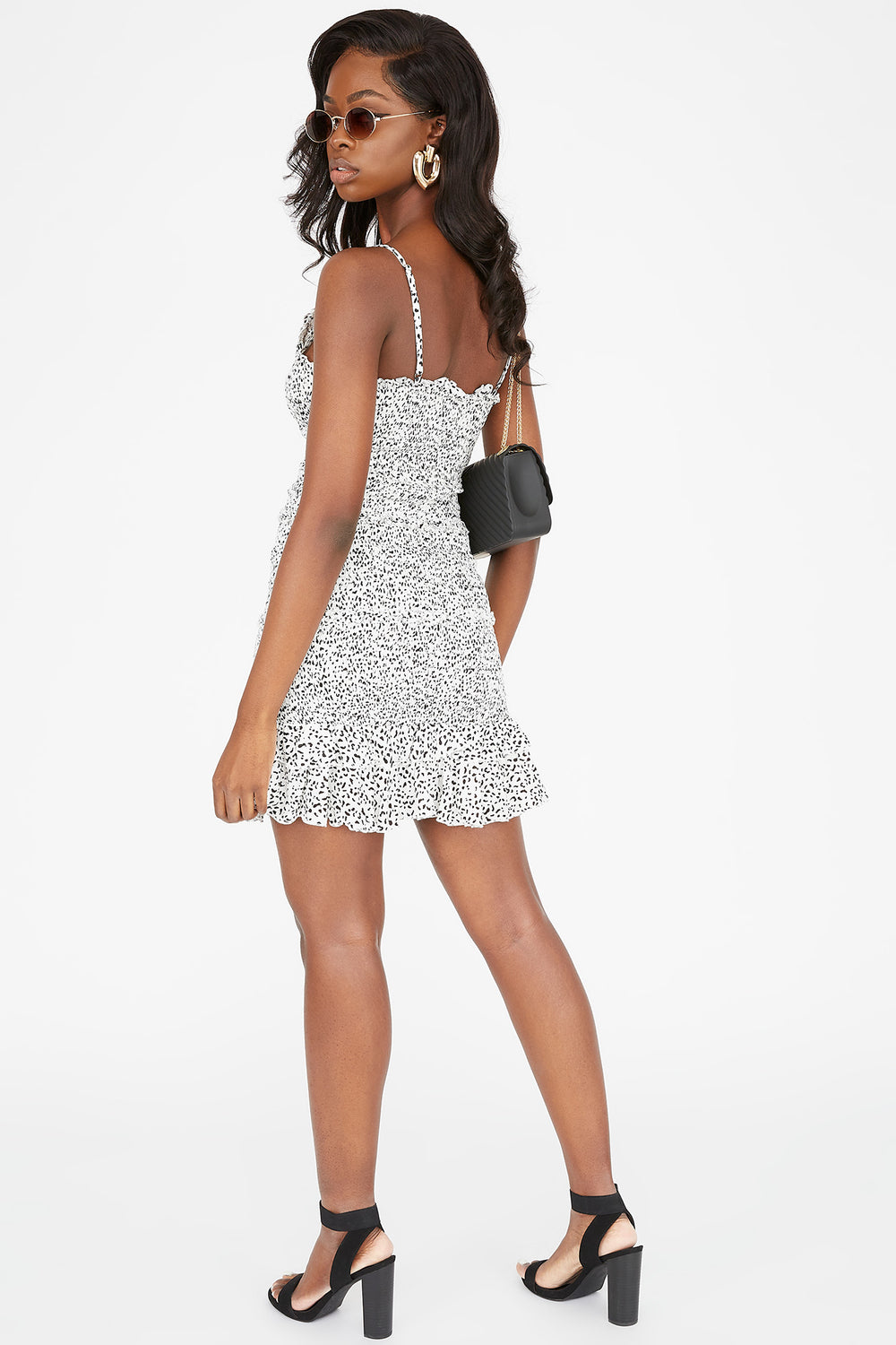 V-Neck Printed Smocked Ruffle Mini Dress White