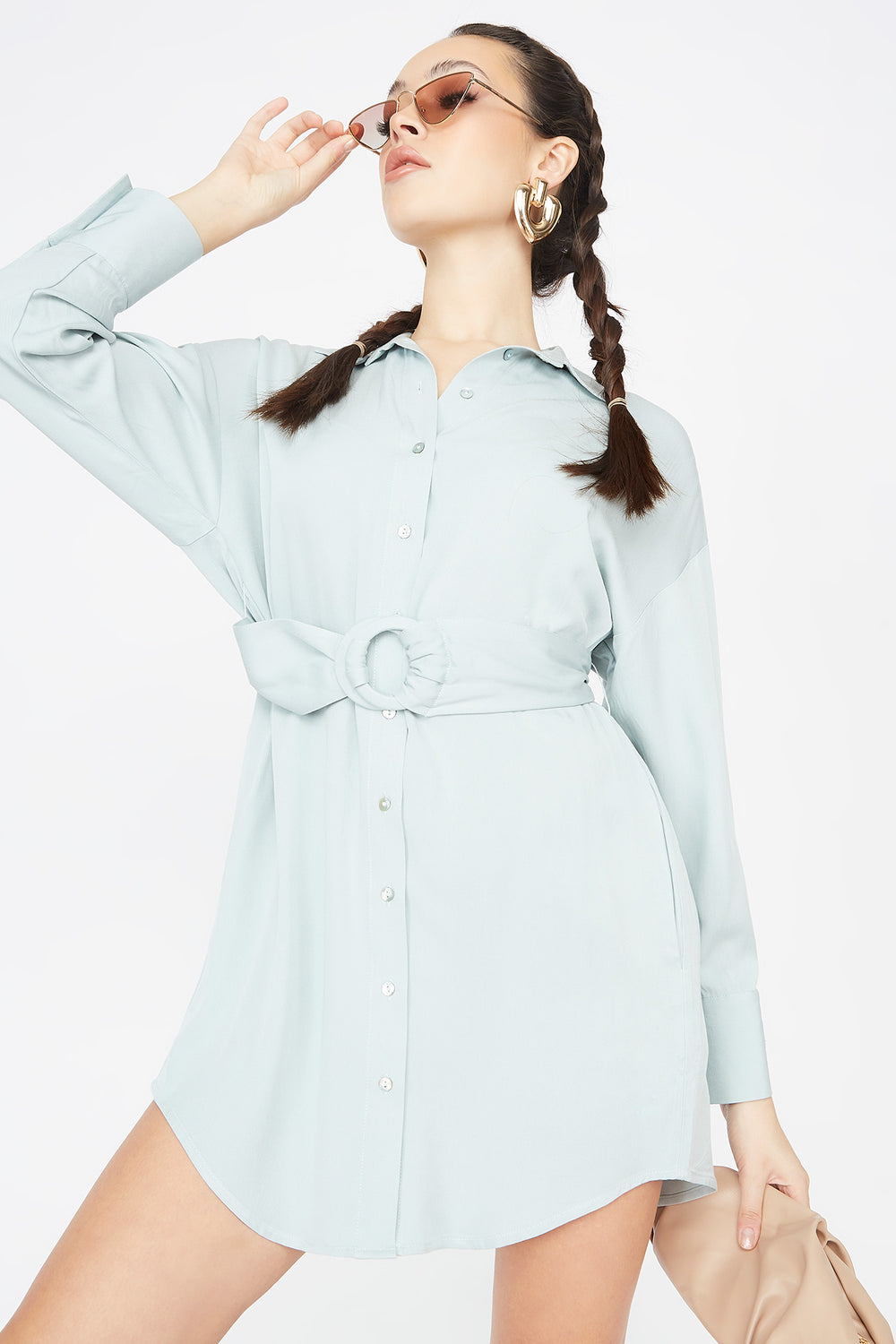 Button-Up O-Ring Belted Shirt Dress Light Blue