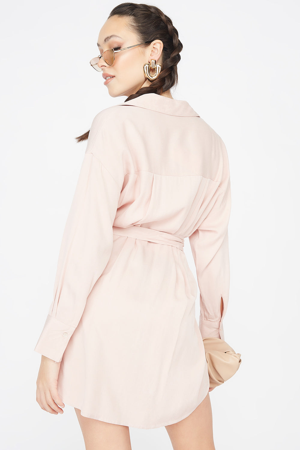 Button-Up O-Ring Belted Shirt Dress Light Pink