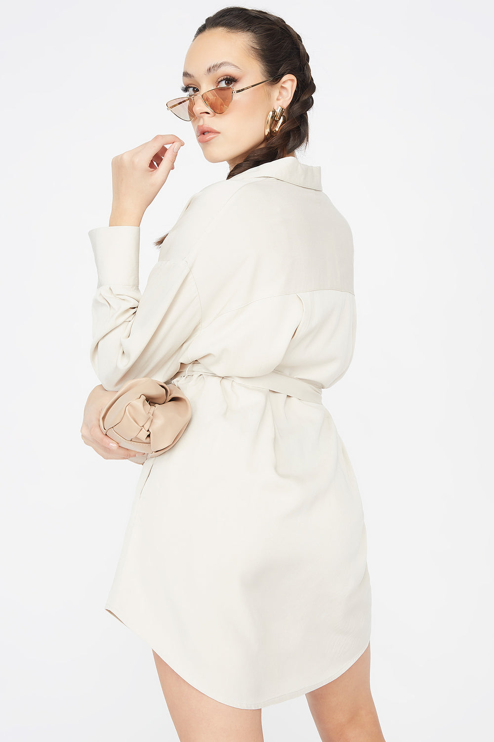 Button-Up O-Ring Belted Shirt Dress Natural