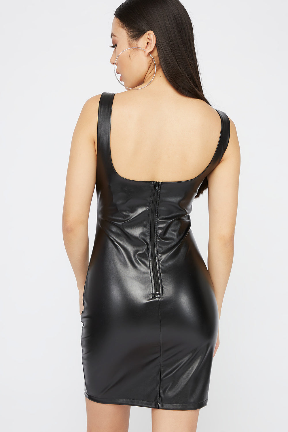 Faux-Leather Scoop Neck Mini Dress Black