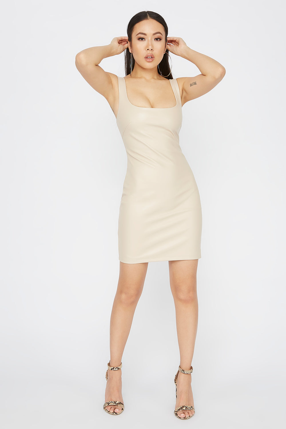Faux-Leather Scoop Neck Mini Dress Taupe