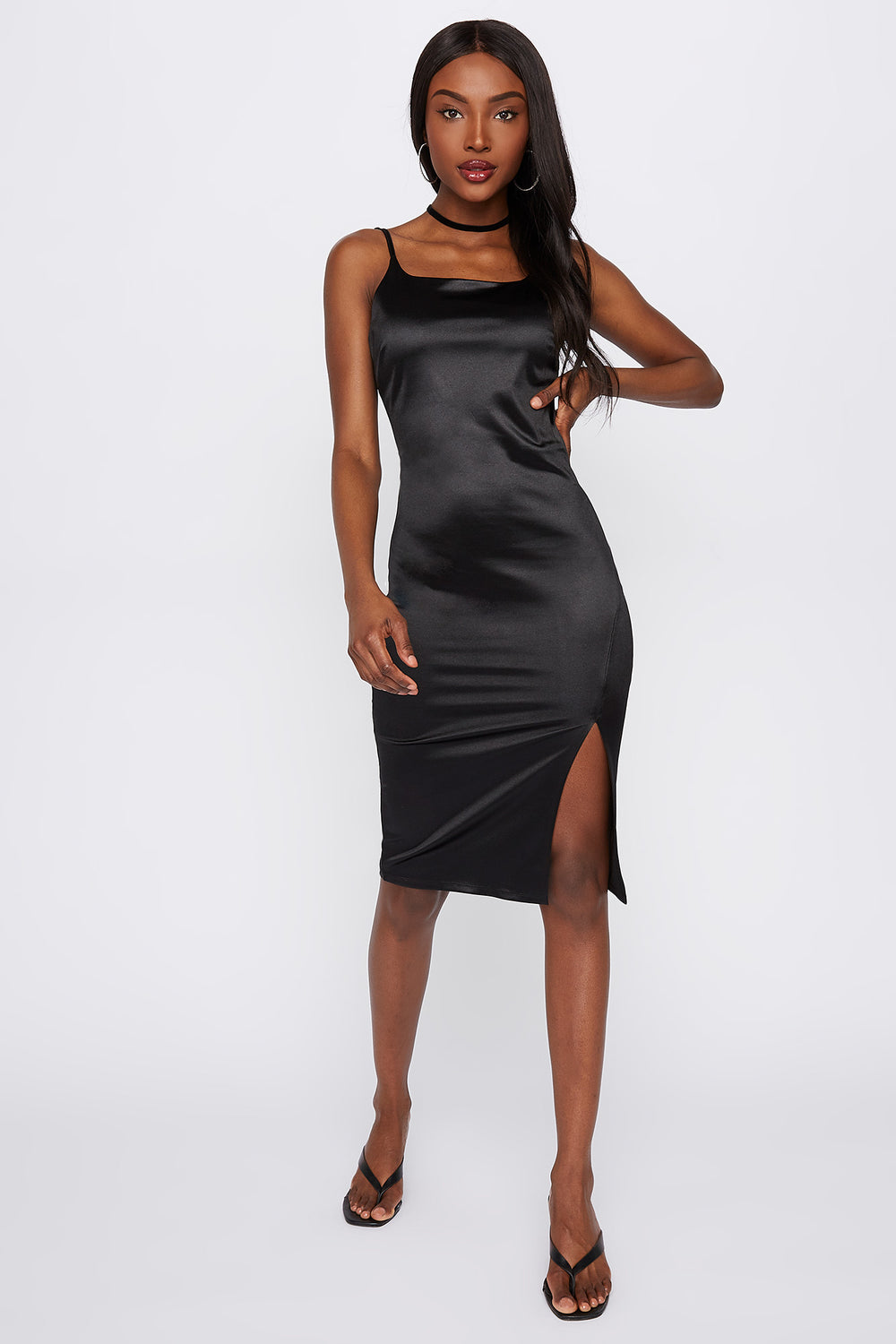 Satin Side Slit Bodycon Midi Dress Black