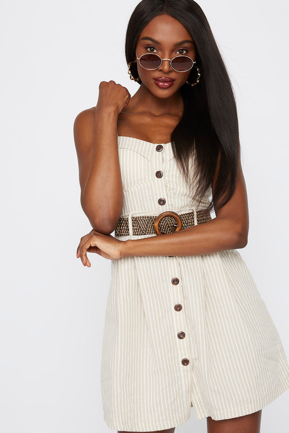 Striped Button Front Belted Mini Dress Oatmeal