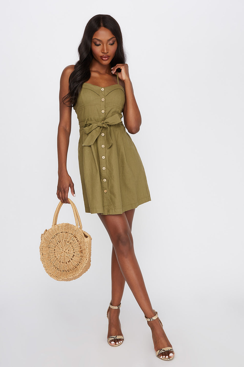 Button-Up Sweetheart Self Tie Mini Dress Dark Green
