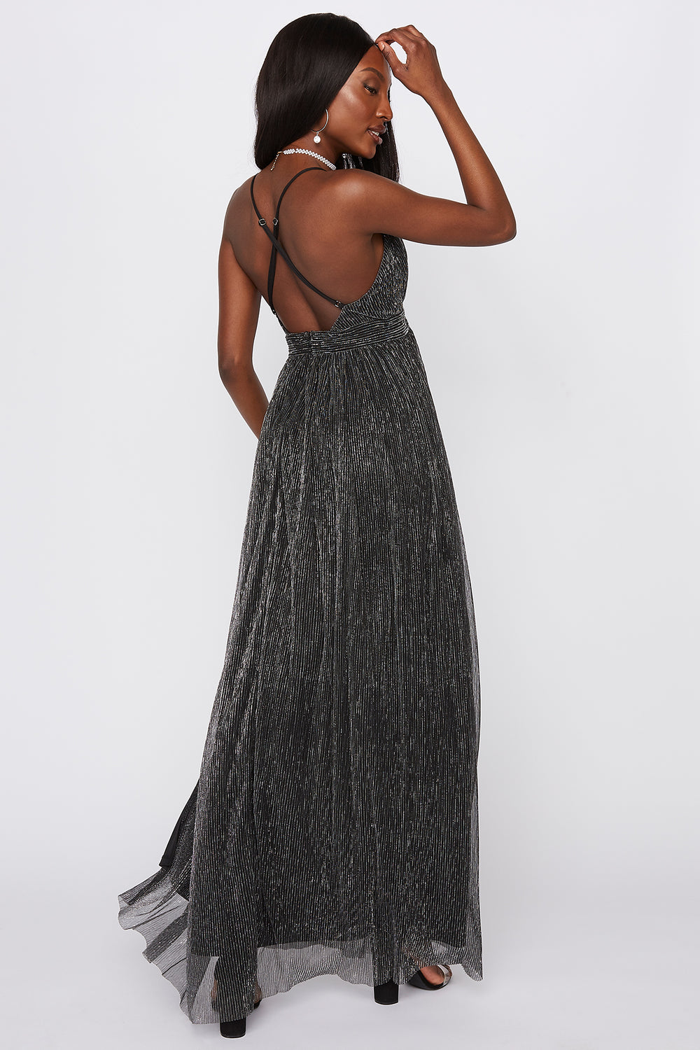 V-Neck Cross Back Slit Maxi Dress Black