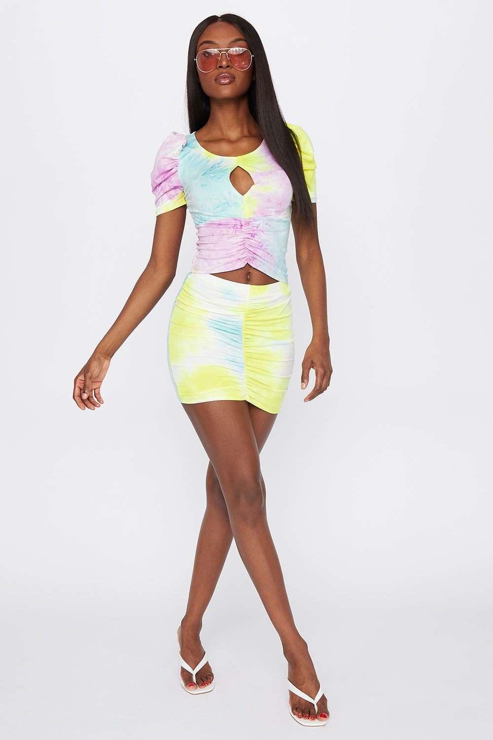 Tie Dye Ruched Front Mini Skirt Multi