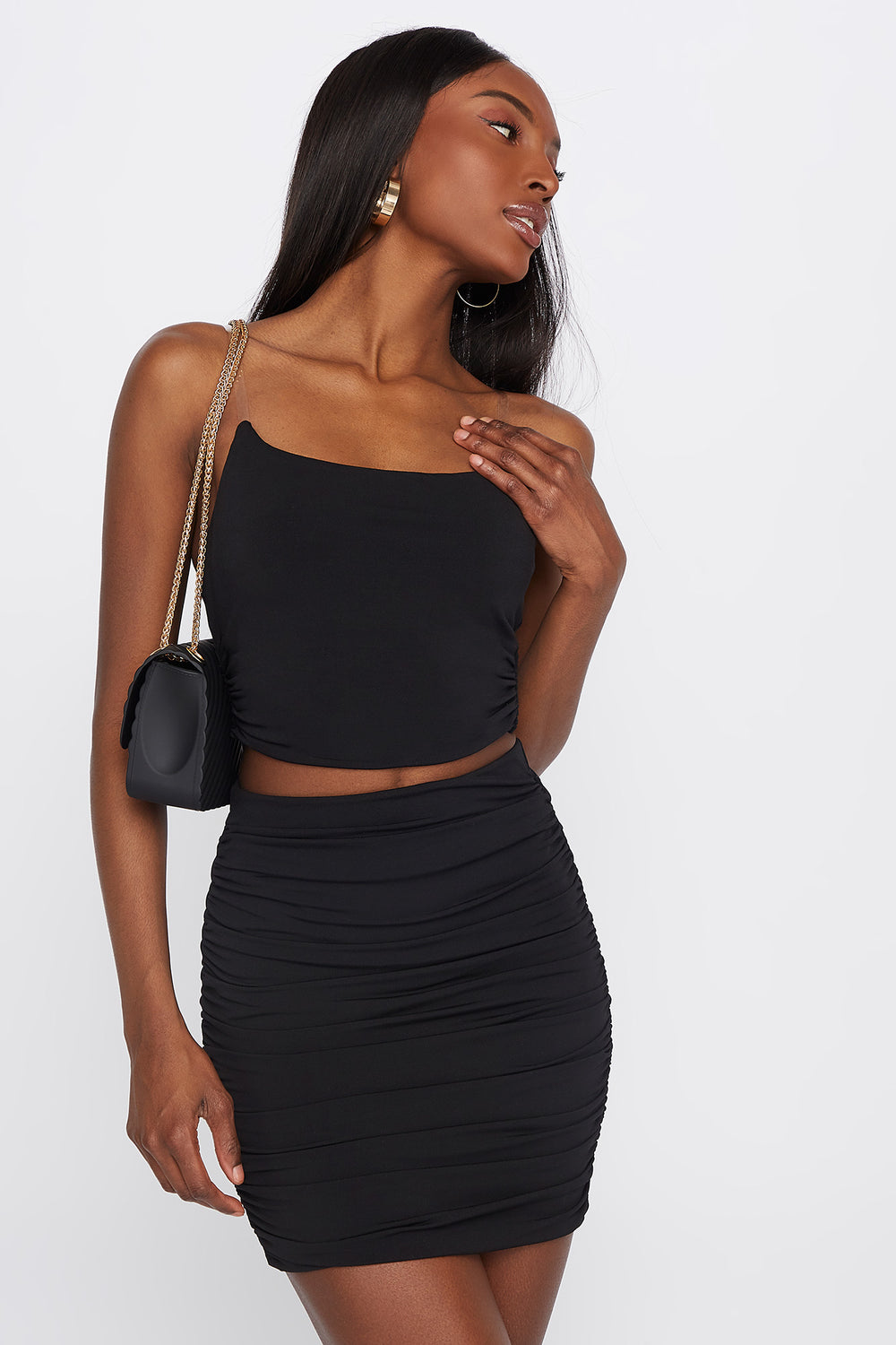 Clear Strap Scoop Neck Cropped Top Black