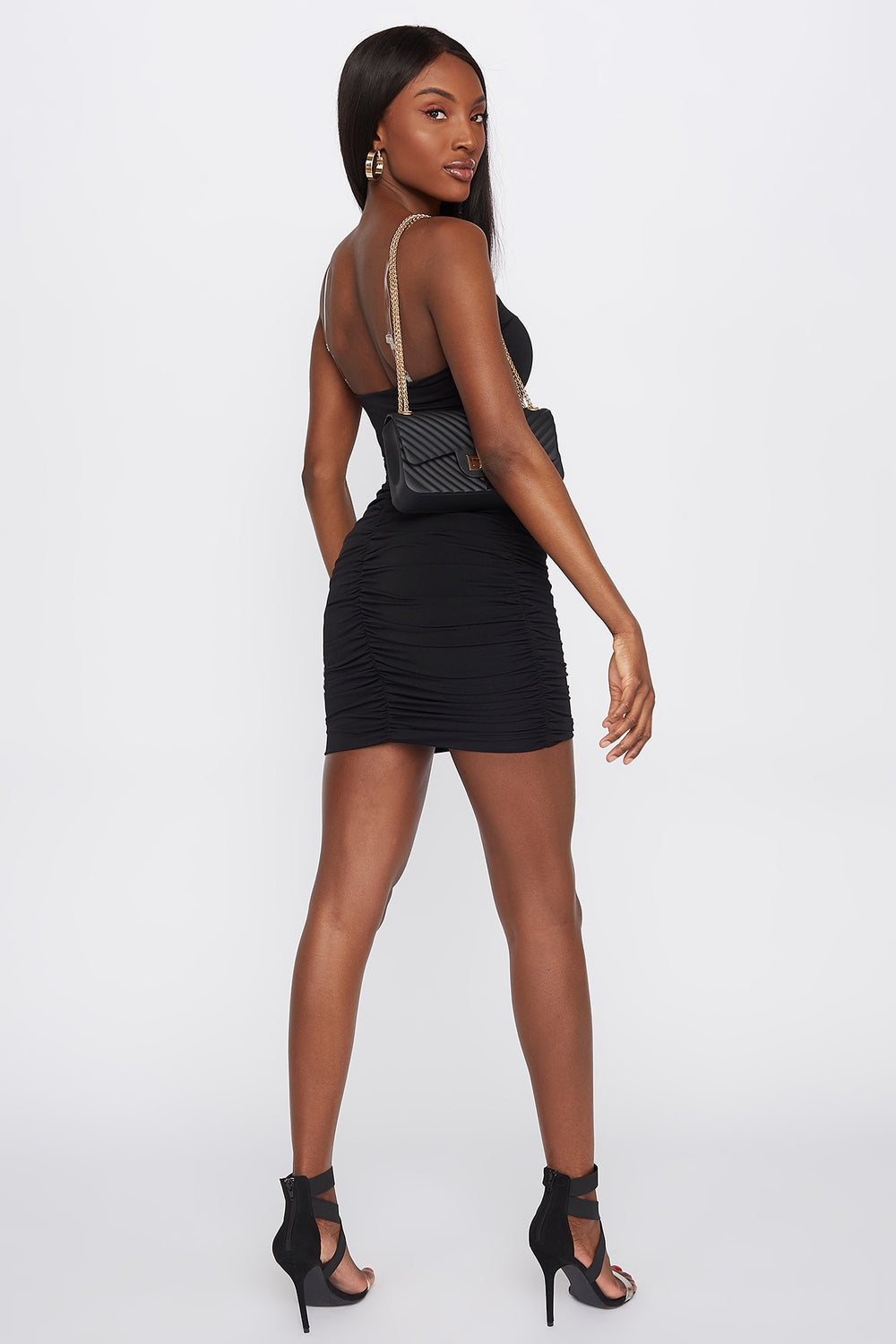 Ruched Mini Skirt Black
