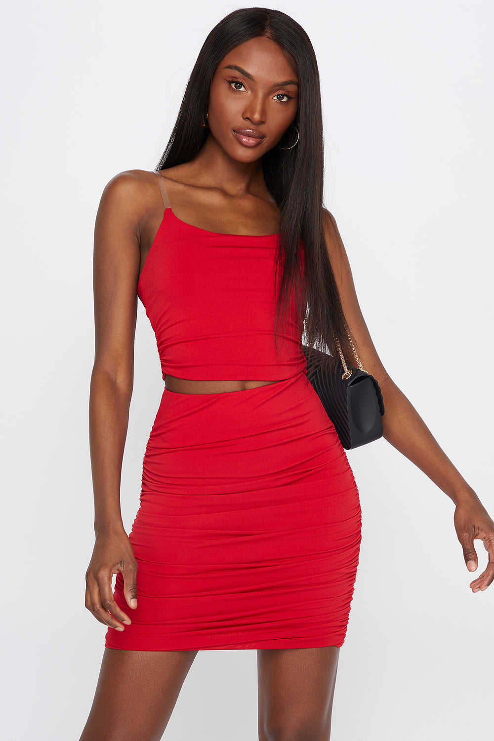 Ruched Mini Skirt Red