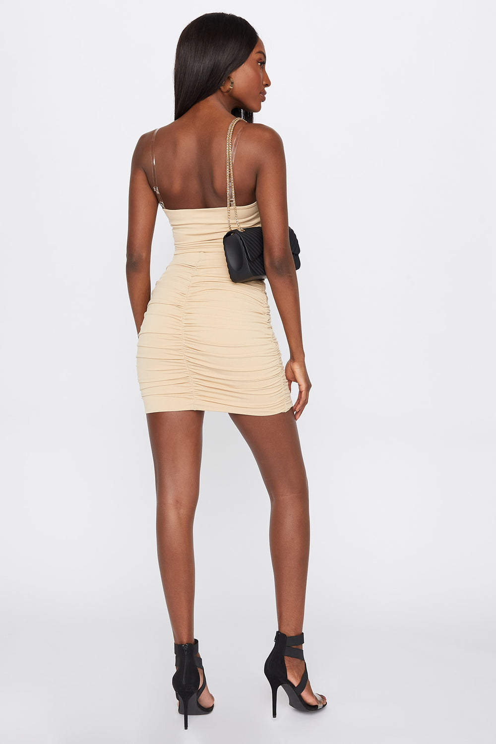 Ruched Mini Skirt Taupe