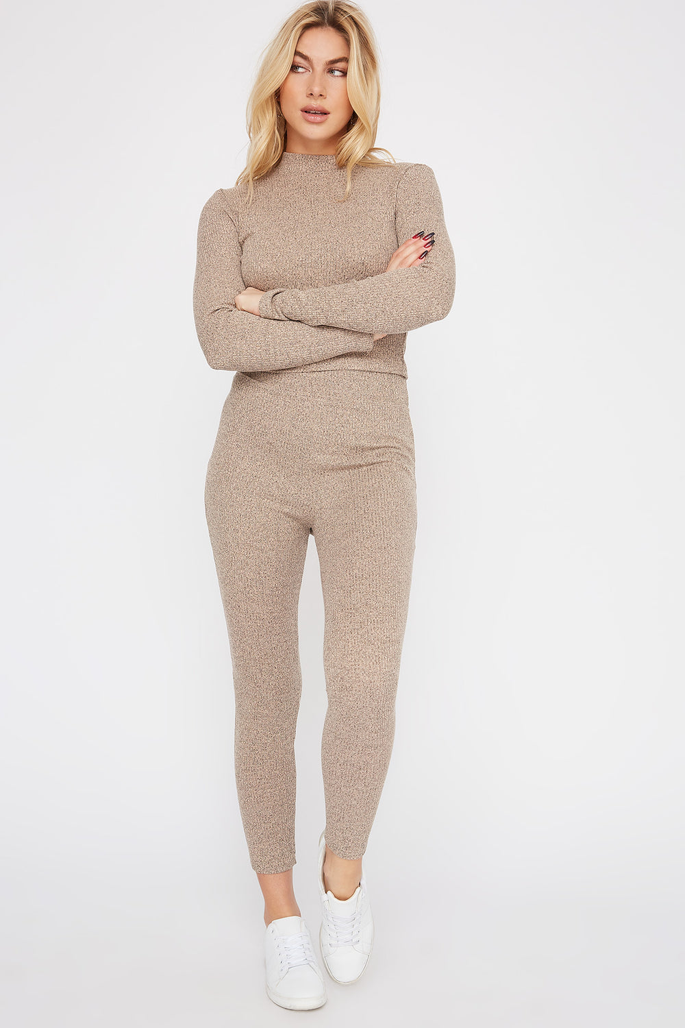High-Rise Ribbed Legging Taupe