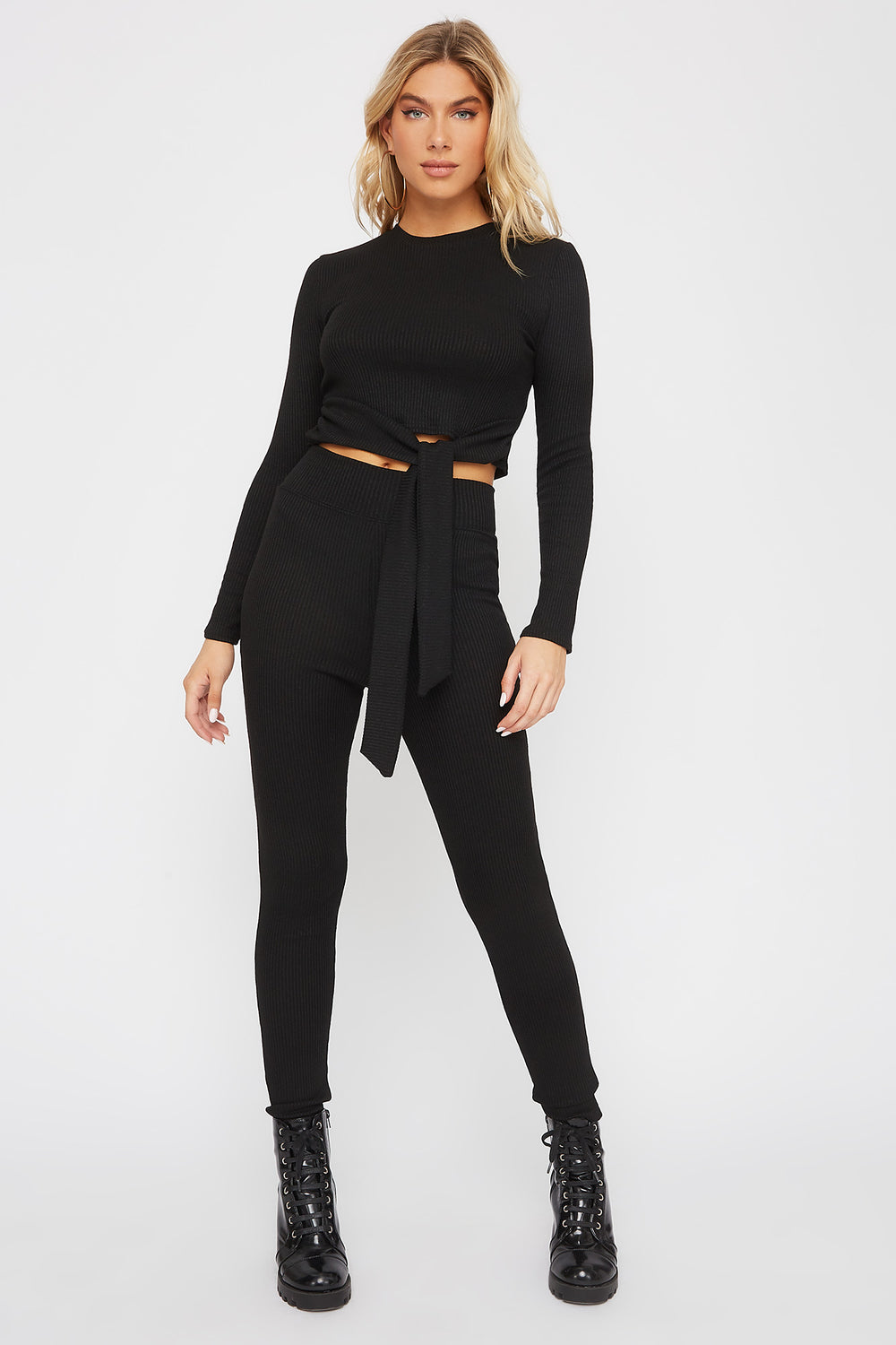 High-Rise Ribbed Legging Black