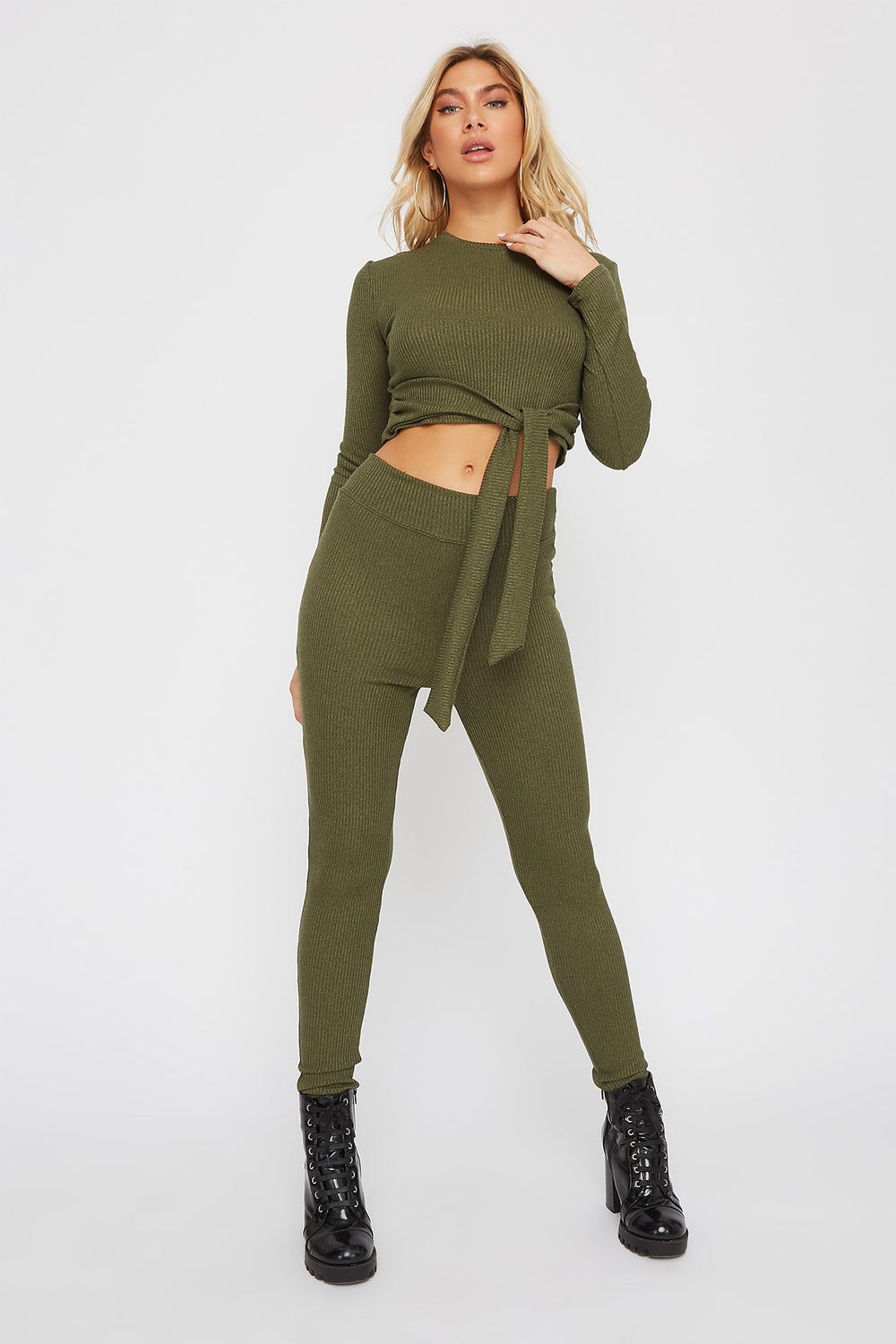 High-Rise Ribbed Legging Dark Green